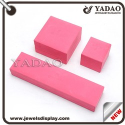 Custom Plastic wrapped with pink microfiber jewelry packing box with embossed custom logo gift box