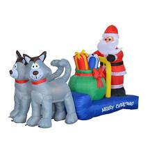 180cm long Christmas inflatable, husky sleigh with Santa Claus, Christmas gift boxes