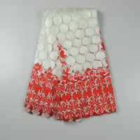 high quality african white red cord lace fabrics / latest design french guipure lace / indian embroidery lace fabrics