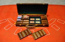 SunFly Casino Chips Case, 500ct walnut chip case