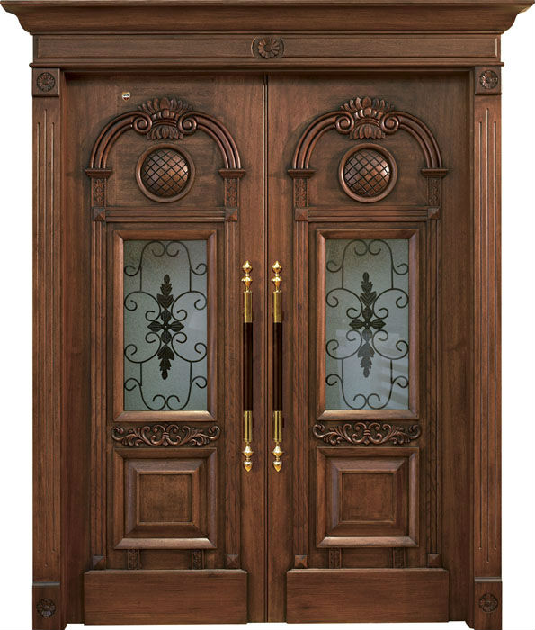 Double wood door design iron main gate designs wood door for Latest design for main door