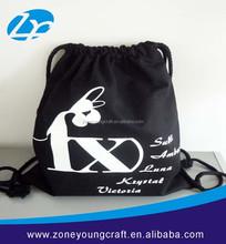 Custom black cotton drawstring bag