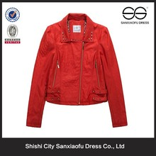 New Design Red Fashion Leather Jacket Hot Pretty Woman Clothing