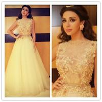 MF22 Romantic Myriam Fares Celebrity Arabic Sleeveless Appliqued Flowers Evening Gowns Prom Dress