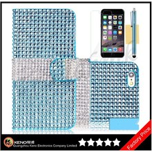 Keno Luxury Lady Bling Crystal Phone Case Wallet Leather Case for iPhone 6