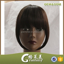 Directly factory high quality remy hair clip on bangs