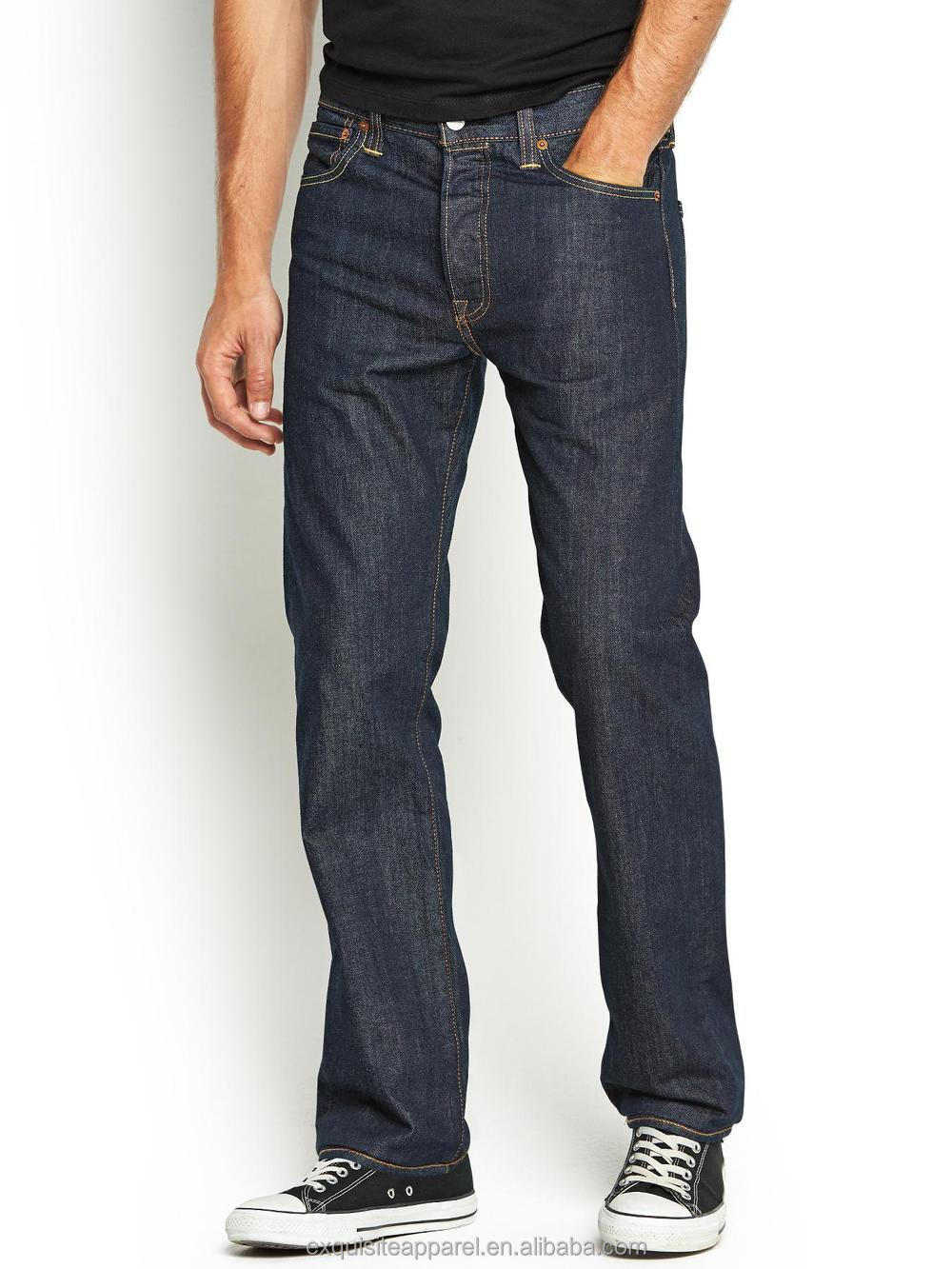 Different styles of men's jeans. Whether for their durability or their casual style, the right cut plays a key role in your comfort. Some common styles include loose fit, straight cut, and skinny fit.