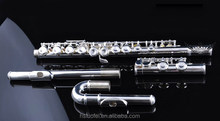 Roffee Woodwind musical instrument cupronickel body C tone 16 closed holes silver plated children bended mouthpiece flute