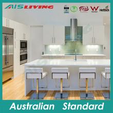 AIS-KC-922 White MDF kitchen cabinet, Australian style modern kitchen, oven and dishwasher