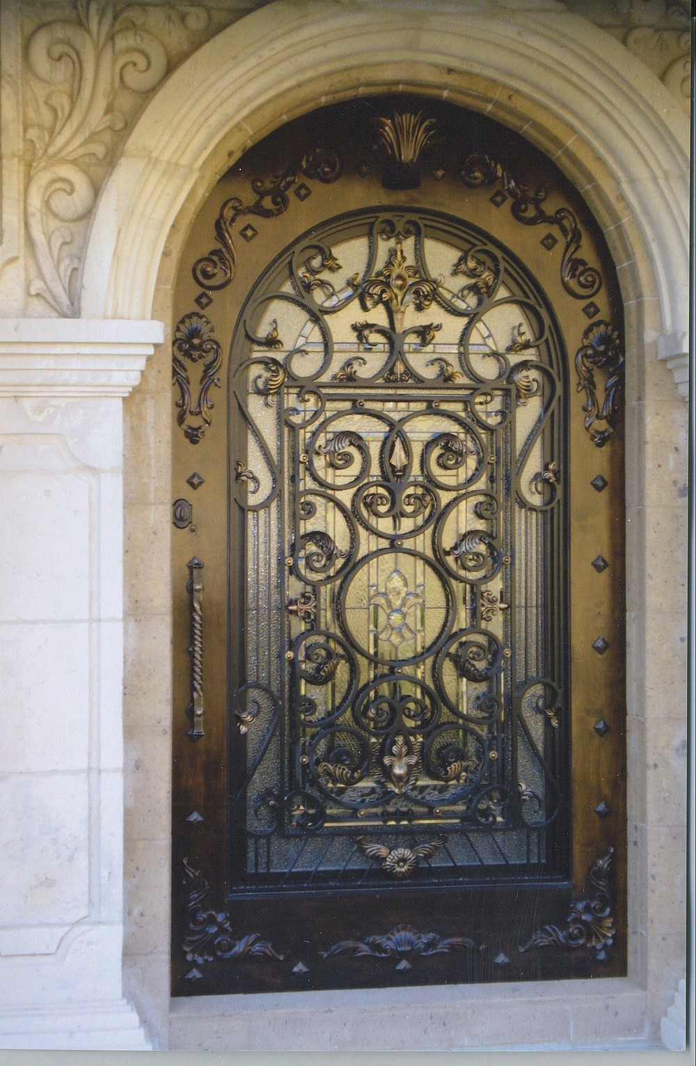 Security used wrought iron door gate designs main entrance for Decorative entrance doors