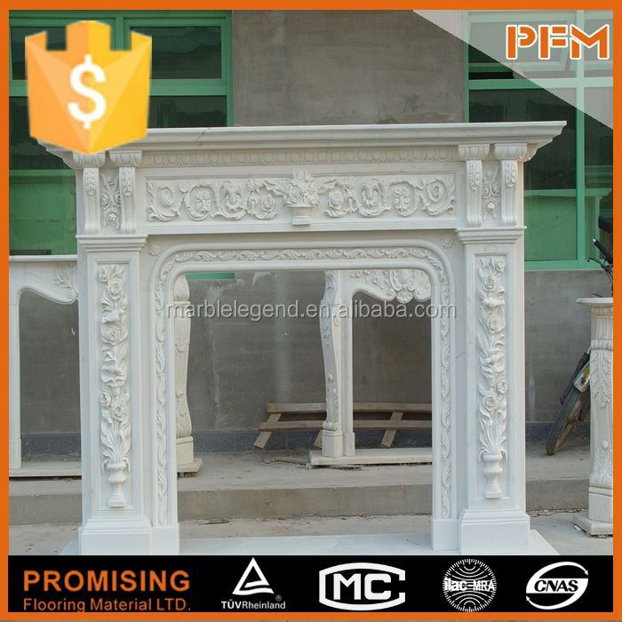 Caved by hand natural indoor marble with elegant design fireplace