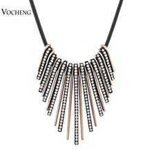 Wholesale 10pcs/lot Black Rope Chain Tassel Necklace 2 Colors Pendant Crystal Necklace Jewelry (Vf-118*10) Vocheng Jewelry