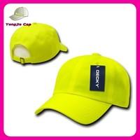 multi color outdoor caps custom made plastic snap back neon yello baseball cap no logo no