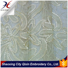 FASHION PU SEQUIN ON POLYESTER MESH EMBROIDERY WITH FLOWER DESIGN