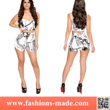 Women Sexy 2-pieces General Printing Short Jumpsuit
