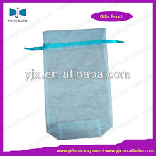 2016 Light Blue Make-up Organza Pouch with bottom