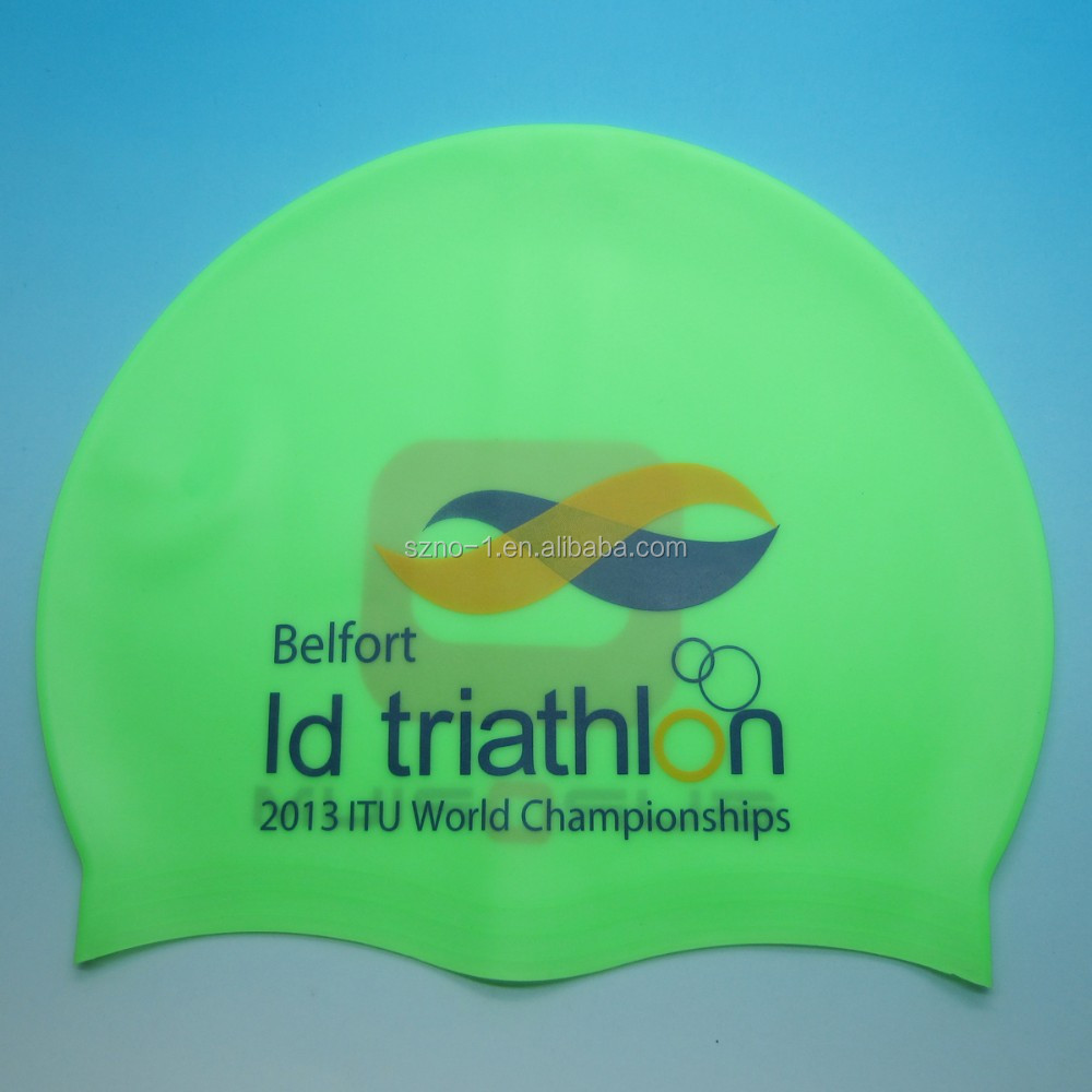 Fashionable Best Quality in Adult or Kid size customized printing logo waterproof silicone swimming cap