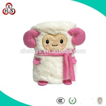 beautiful sheep shape plush folded blanket for wholesale