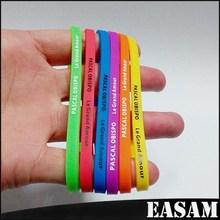 Slim silk-screened Thin Single Color silicone bracelet wristband