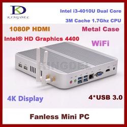 4G RAM+128G SSD fanless micro pc mini computer Intel i3 4010U Dual core,HTPC, Intel HD 4400 Graphics HD VGA,4*USB3.0, Win 7