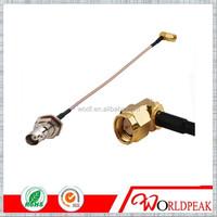 BNC jack female bulkhead nut to SMA male RA plug RF pigtail cable RG316 30cm