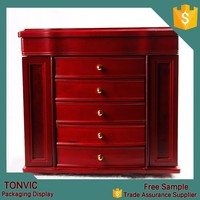 Luxury 5 Drawer Large Antique Red Wooden Jewelry Box With Mirror