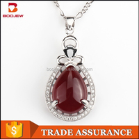 boojew wholesale jewelry 925 silver pendant jewelry gemstone pendant natural red agate pendant