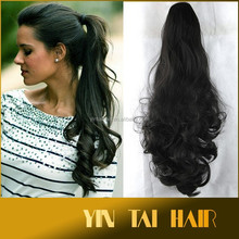 26 inch Long Wave Brazilian Human Hair Ponytail/Clip in Hair Extension Hairpiece Claw Ponytail with wholesale price