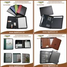 business A4 PVC leather office zipper velcro portfolio briefcase document bag for men