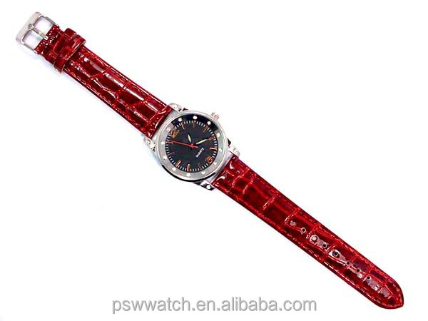 fashion polished leather luminous hands lady leather watches