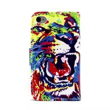 hot sale Animal Painted patterns Classic look Kickstand Stitch PU Leather case for iPhone 4S for whole sales