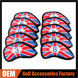 2015 New Design Golf Headcover, UK Flag PU Leather Iron Headcovers 10 Pcs/Set