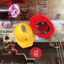 Plastic LED Helmet Bottle Opener Keychain