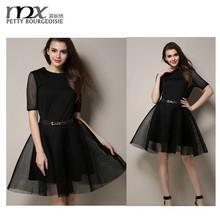 Moda mujer alta calidad de vestido de encaje negro
