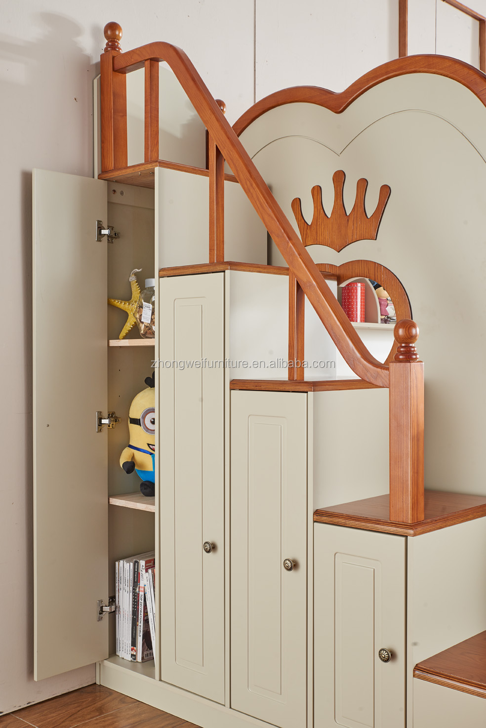 Creativo de madera doble cama litera para ni os y madre - Cama doble para ninos ...
