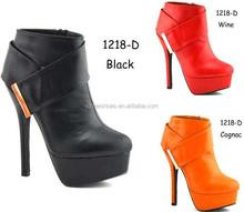 Bootie design fashion high heel woman shoe casual boot shoe (1218-D)