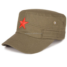 Army Green army hats /army caps with a red Five-Pointed Star