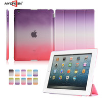 Fashion ultra thin magnetic for ipad 234 folder 4 styles rainbow suit case