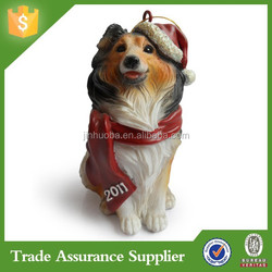 2015 Newest Customized Resin Shetland Dog Christmas Ornaments