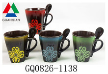 280ml fancy coffee cups and mugs with spoon in hand and flower design dishwasher safe