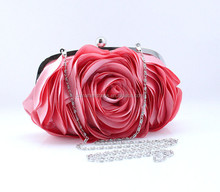 Red rose flower shaped satin evening bags for women