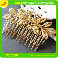 Top quality hot sale women hair jewelry gold plated foliage magic hair comb