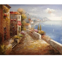 Excellent garden scenery landscape sea view oil painting for wall decoration