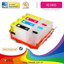 High quality refill ink cartridge for HP 655 workforce Deskjet 3525/4615/4625/5525/6525 with reset chip