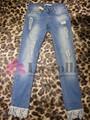 2015 moda feminina quebrado - buraco apertado Jeans com punhos de renda LD-028