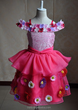 Vintage Christmas Dresses for Toddler Girls Party Dresses Baby Clothing with appliqued flowers/Girly colorful girl dress Straps