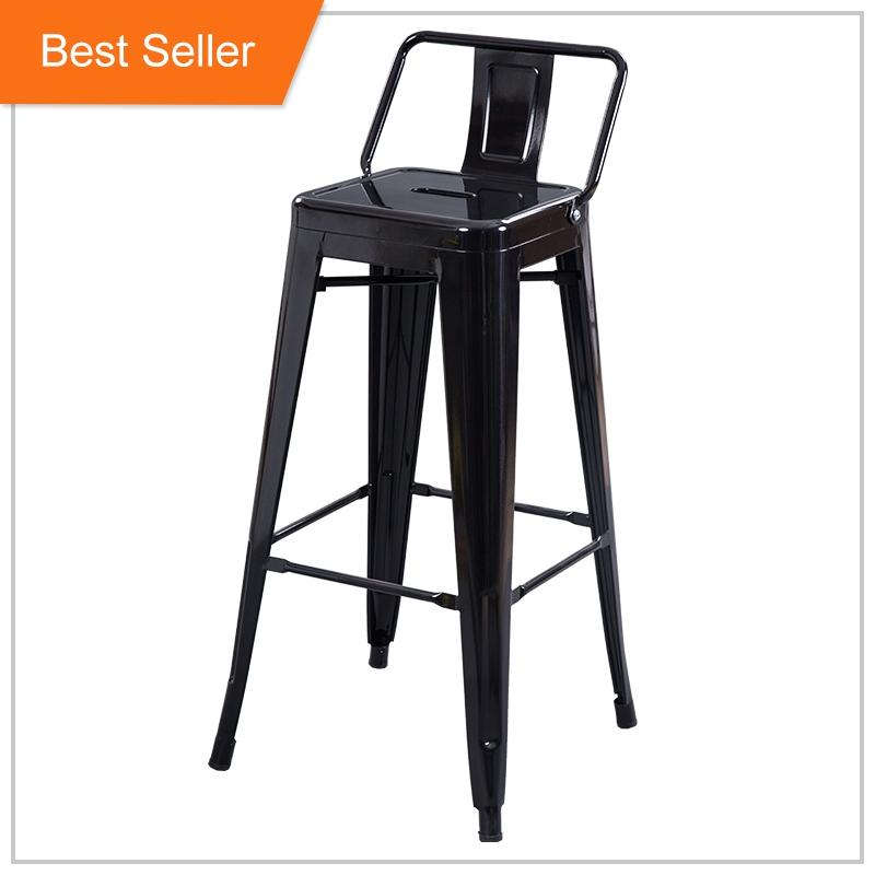 خمر الأسود المقاوم للصدأ المعدن الصناعي حانة بار عالية كرسي للبار البراز ل الثقيلة الناس