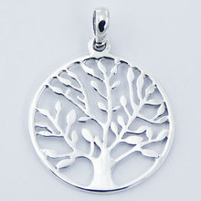 Open Circle Sterling Silver Leafy Tree Of Life Pendant