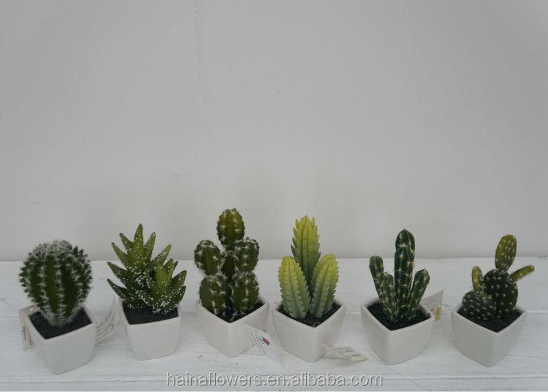 Nouveau design mini pot tropical plastique artificielle for Mini cactus artificiel
