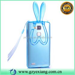 Sky Blue Clear TPU Gel Rabbit Ear Case For Huawei Honor 6 Plus Back Cover